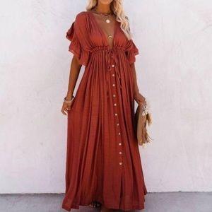 🔹New🔹Rust Western Boho Maxi Dress